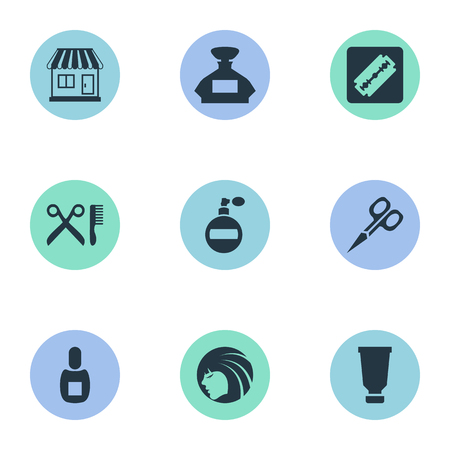 Vector Illustration Set Of Simple Barber Icons. Elements Cut Tool, Bottle, Glamour Lady And Other Synonyms Odor, Container And Tool.