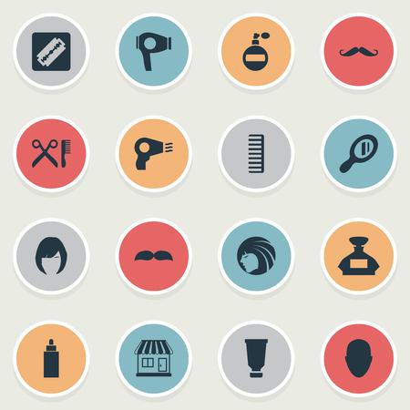 Vector illustratie Set van eenvoudige schoonheidsspecialist pictogrammen. Elementen Baard, container, haar en andere synoniemen Barbershop, aroma en hackle.