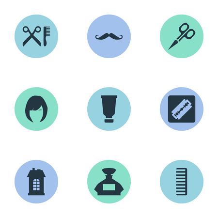 Vector illustratie Set van eenvoudige kapper pictogrammen. Elementen haar, geur, snorharen en andere synoniemen Bouw, architectuur en schaar. Stock Illustratie