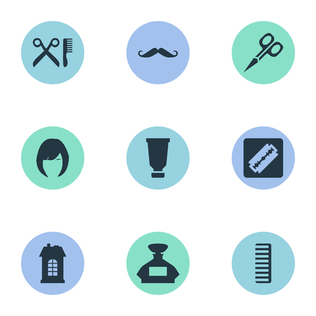 Vector Illustration Set Of Simple Hairdresser Icons. Elements Hair, Scent, Whiskers And Other Synonyms Building, Architecture And Scissors.