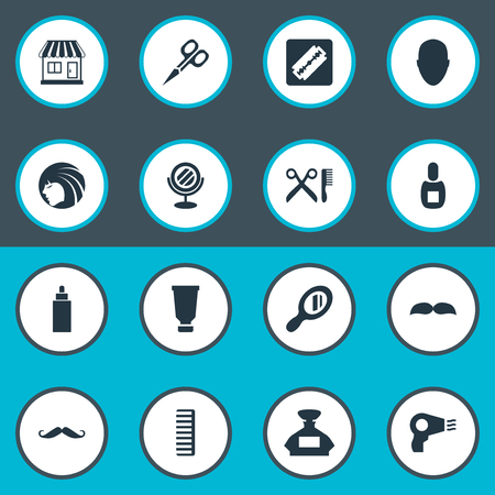 Vector Illustration Set Of Simple Beautician Icons. Elements Bottle, Human, Container And Other Synonyms Hackle, Mirror And Machine.