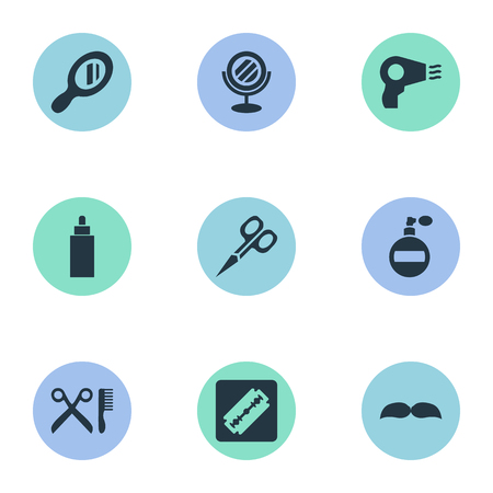Vector Illustration Set Of Simple Hairdresser Icons. Elements Peeper, Beard, Aroma And Other Synonyms Scissors, Hair And Tube. Illustration