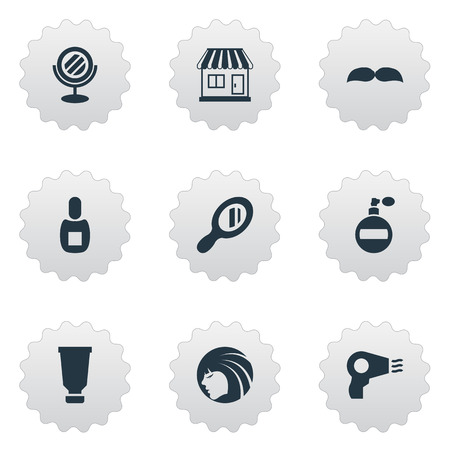 Vector Illustration Set Of Simple Barber Icons. Elements Beard, Glamour Lady, Flask And Other Synonyms Reflector, Hair And Hairdryer.