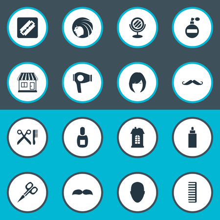 Vector Illustration Set Of Simple Barber Icons. Elements Human, Cut Tool, Peeper And Other Synonyms Lady, Shop And Looking-Glass. Illusztráció