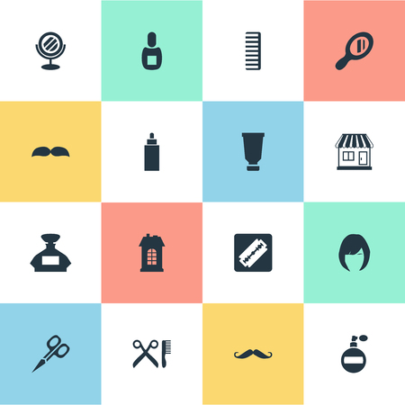 Vector Illustration Set Of Simple Barber Icons. Elements Bottle, Hackle, Shaver And Other Synonyms Whiskers, Perfume And Razor.