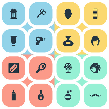 Vector Illustration Set Of Simple Hairdresser Icons. Elements Hair, Cut Tool, Container And Other Synonyms Girl, Mirror And Hair.
