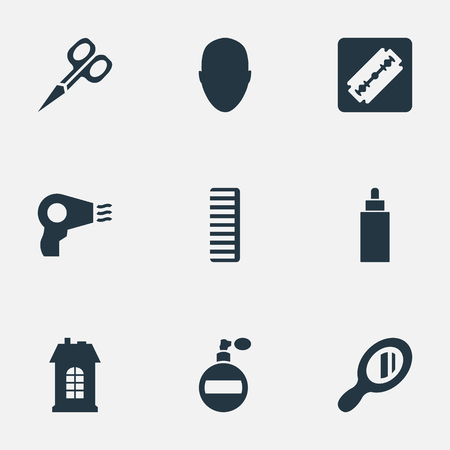 Vector Illustration Set Of Simple Hairdresser Icons. Elements Human, Reflector, Cut Tool And Other Synonyms Perfume, Aroma And Clipper.