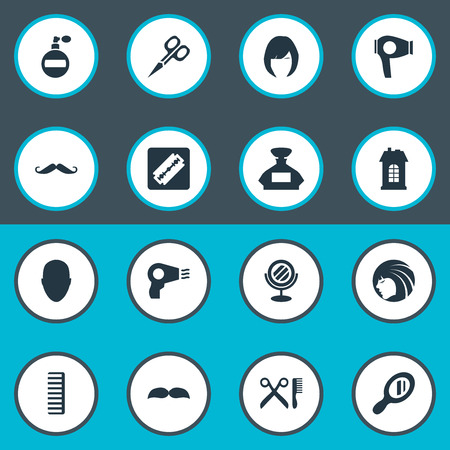 Vector Illustration Set Of Simple Barber Icons. Elements Peeper, Beard, Reflector And Other Synonyms Beautiful, Scent And Comb.