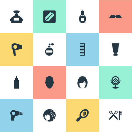 Vector Illustration Set Of Simple Barber Icons. Elements Scent, Barber Tools, Peeper And Other Synonyms Aroma, Machine And Beard. Illusztráció