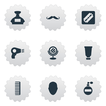 Vector illustratie Set van eenvoudige schoonheidsspecialist pictogrammen. Elementen Whiskers, Blow Dryer, Scent And Other Synoniemen Föhn, Geur En Machine.