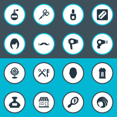 Vector Illustration Set Of Simple Hairdresser Icons. Elements Glamour Lady, Human, Reflector And Other Synonyms Glass, Man And Mustache.