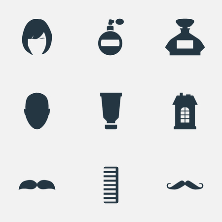 Vector Illustration Set Of Simple Beautician Icons. Elements Aroma, Hair, Scent And Other Synonyms Smell, Mustache And Scent.