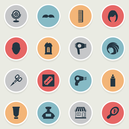 Vector Illustration Set Of Simple Barber Icons. Elements Beard, Container, Cut Tool And Other Synonyms Female, Reflector And Glass.