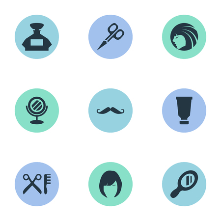 Vector Illustration Set Of Simple Beautician Icons. Elements Cut Tool, Glamour Lady, Hair And Other Synonyms Scissors, Mustache And Beautiful. Reklamní fotografie - 78498018
