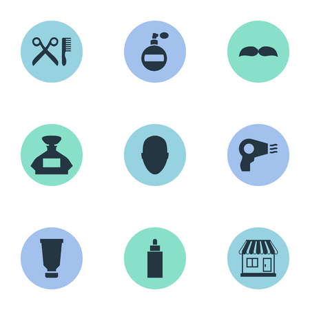 Vector Illustration Set Of Simple Beautician Icons. Elements Scent, Container, Blow Dryer And Other Synonyms Man, Mustache And Barbershop.