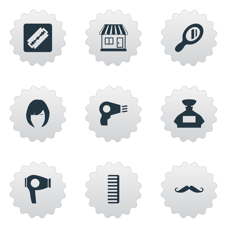 Vector Illustration Set Of Simple Barber Icons. Elements Hackle, Blow Dryer, Shaver And Other Synonyms Comb, Odor And Shop. Illusztráció