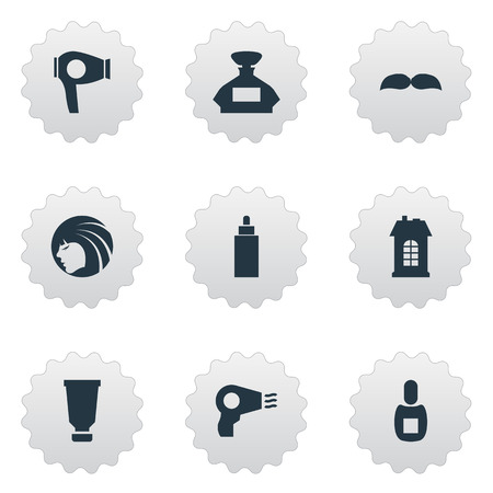 Vector Illustration Set Of Simple Hairdresser Icons. Elements Scent, Flask, Glamour Lady And Other Synonyms Hairdryer, Machine And Drying. Ilustracja