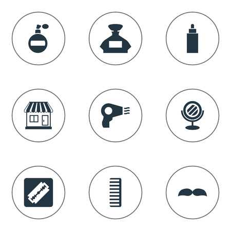 Vector Illustration Set Of Simple Barber Icons. Elements Supermarket, Blow Dryer, Shaver And Other Synonyms Looking-Glass, Whiskers And Shop.