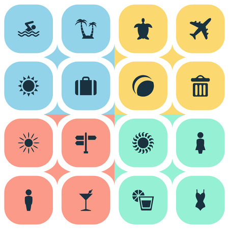 Vector Illustration Set Of Simple Seaside Icons. Elements Sun, Garbage, Swimming Man And Other Synonyms Trip, Games And Lemonade.