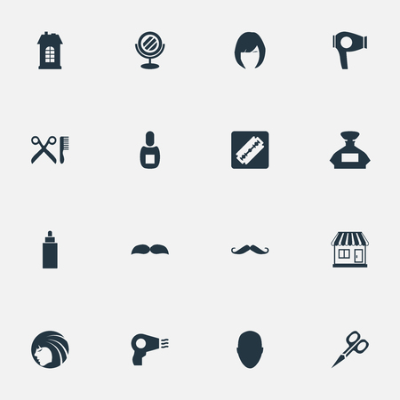 Vector Illustration Set Of Simple Hairdresser Icons. Elements Human, Peeper, Barber Tools And Other Synonyms Mirror, Woman And Male. Illusztráció