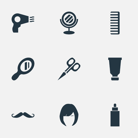 Vector Illustration Set Of Simple Hairdresser Icons. Elements Whiskers, Cut Tool, Hair And Other Synonyms Looking-Glass, Hairdryer And Scissors. Illusztráció