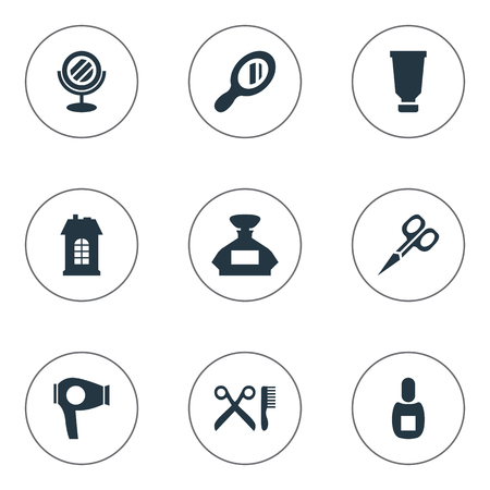 Vector Illustration Set Of Simple Beautician Icons. Elements Premises, Barber Tools, Reflector And Other Synonyms Odor, Architecture And Reflector.