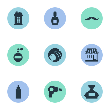 Vector Illustration Set Of Simple Hairdresser Icons. Elements Supermarket, Flask, Premises And Other Synonyms Whiskers, Scent And Tube.
