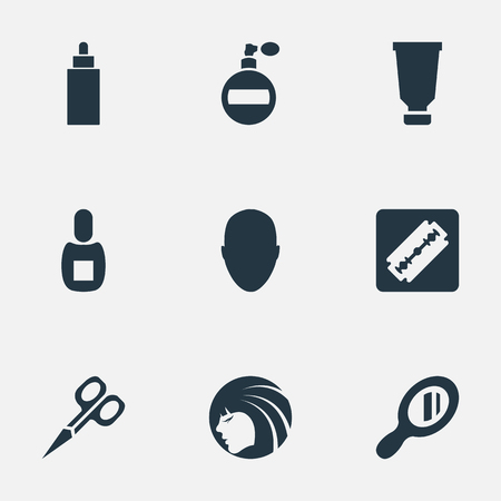 Vector Illustration Set Of Simple Barber Icons. Elements Glamour Lady, Bottle, Shaver And Other Synonyms Beautiful, Male And Razor.