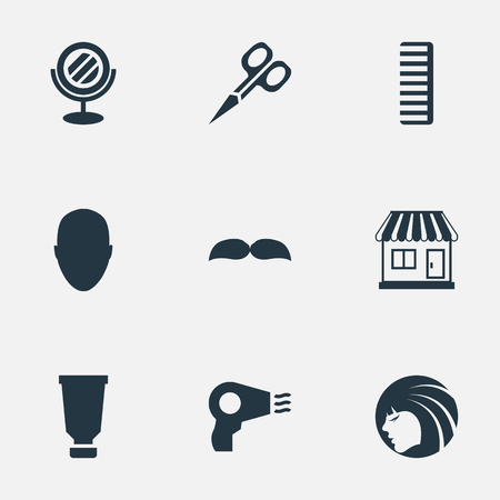 Vector Illustration Set Of Simple Barber Icons. Elements Hackle, Glamour Lady, Blow Dryer And Other Synonyms Tool, Bottle And Male.