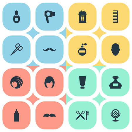 Vector Illustration Set Of Simple Hairdresser Icons. Elements Glamour Lady, Drying Machine, Cut Tool And Other Synonyms Hackle, Scissors And Barbershop.