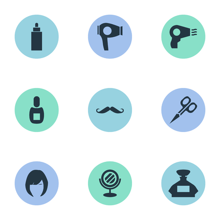 Vector Illustration Set Of Simple Barber Icons. Elements Hair, Whiskers, Scent And Other Synonyms Hair, Glass And Odor.