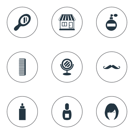 Vector Illustration Set Of Simple Barber Icons. Elements Container, Flask, Hair And Other Synonyms Store, Flask And Female.
