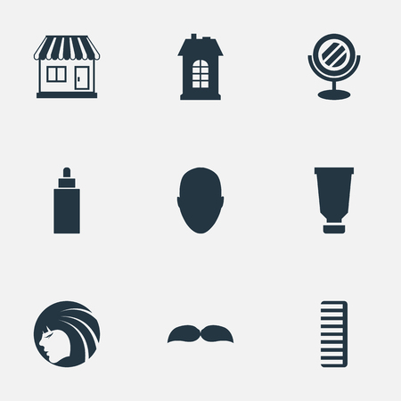 Vector Illustration Set Of Simple Barber Icons. Elements Bottle, Hackle, Human And Other Synonyms Shop, Supermarket And Hair. Illusztráció