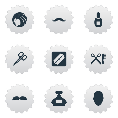 Vector Illustration Set Of Simple Barber Icons. Elements Flask, Whiskers, Human And Other Synonyms Flask, Tool And Shaver.