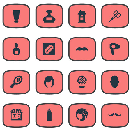 Vector Illustration Set Of Simple Beautician Icons. Elements Flask, Hair, Glamour Lady And Other Synonyms Lady, Mustache And Machine.