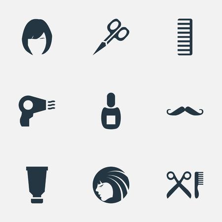 Vector illustratie Set van eenvoudige schoonheidsspecialist pictogrammen. Elementen Whiskers, Blow Dryer, Hackle And Other Synoniemen Clipper, Tool And Woman. Stock Illustratie