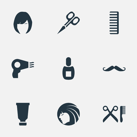 Vector Illustration Set Of Simple Beautician Icons. Elements Whiskers, Blow Dryer, Hackle And Other Synonyms Clipper, Tool And Woman.