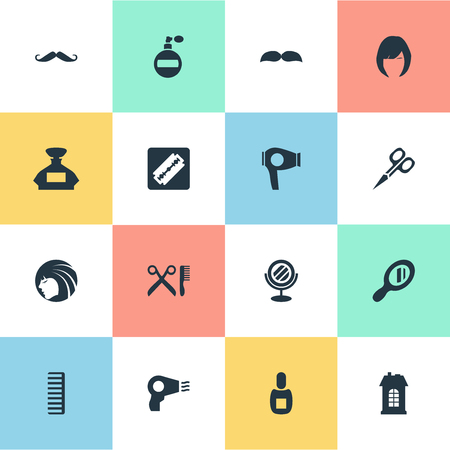 Vector Illustration Set Of Simple Barber Icons. Elements Peeper, Aroma, Flask And Other Synonyms Flask, Hackle And Mustache.