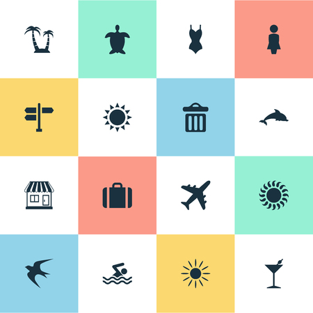 Vector Illustration Set Of Simple Seaside Icons. Elements Palm, Crossroad, Tortoise And Other Synonyms Dustbin, Woman And Sun.