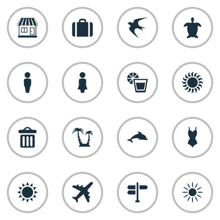 Vector Illustration Set Of Simple Seaside Icons. Elements Bikini, Airplane, Swallow And Other Synonyms Luggage, Trash And Gentleman. Illustration