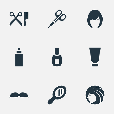 Vector Illustration Set Of Simple Barber Icons. Elements Flask, Glamour Lady, Reflector And Other Synonyms Clipper, Reflector And Whiskers. Stok Fotoğraf - 78489333