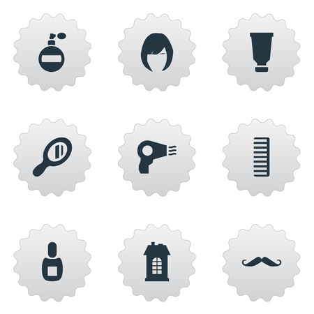 Vector Illustration Set Of Simple Beautician Icons. Elements Flask, Premises, Whiskers And Other Synonyms Hairdryer, Comb And Reflector. Çizim