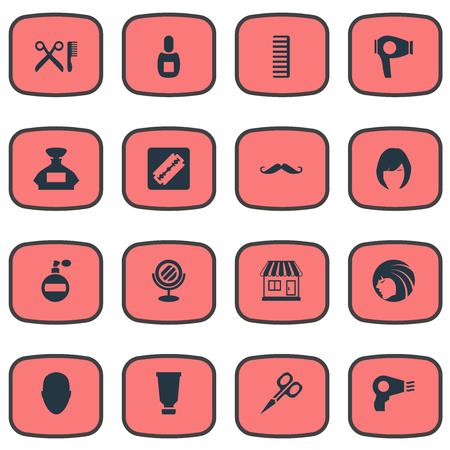 Vector illustratie Set van eenvoudige kapper pictogrammen. Elements Glamour Lady, Human, Whiskers And Other Synoniemen Supermarkt, scharen en kammen.