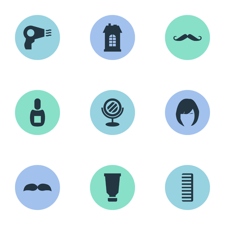 Vector Illustration Set Of Simple Beautician Icons. Elements Peeper, Hair, Premises And Other Synonyms Container, Female And Glass.