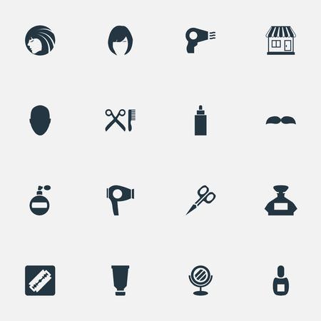 Vector illustratie Set van eenvoudige schoonheidsspecialist pictogrammen. Elements Peeper, Blow Dryer, Cut Tool And Other Synoniemen Beautiful, Man And Tool.