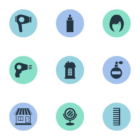 Vector illustratie Set van eenvoudige schoonheidsspecialist pictogrammen. Elements Peeper, Aroma, Container And Other Synoniemen Vrouw, Droging en Looking-Glass.