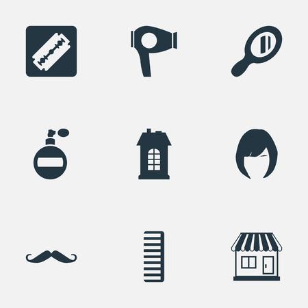 벡터 일러스트 레이 션 간단한 미용사 아이콘의 집합입니다. 요소 아로마, 수염, 슈퍼마켓 및 기타 동의어 건설, 쇼핑 및 도구. 일러스트