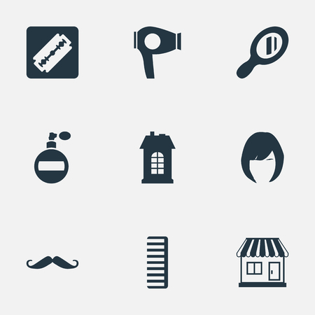 Vector Illustration Set Of Simple Beautician Icons. Elements Aroma, Whiskers, Supermarket And Other Synonyms Construction, Shop And Tool.