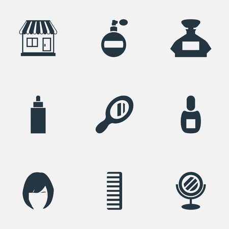 Vector Illustration Set Of Simple Beautician Icons. Elements Hackle, Scent, Reflector And Other Synonyms Tube, Hair And Store.