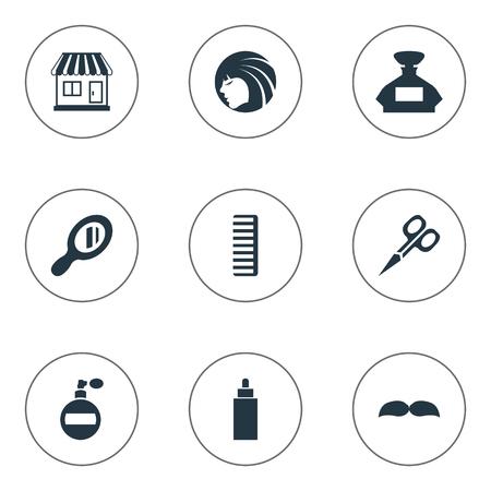 Vector illustratie Set van eenvoudige kapper pictogrammen. Elementen Reflector, baard, geur en andere synoniemenschaar, winkel en meisje.